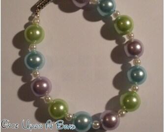 Blue, Green, Purple Glass Pearl Bracelet