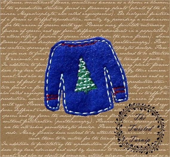 ITH Funny Ugly Christmas Sweater Christmas Tree Holiday Embroidery Design Designs File Feltie Felt Felty Instant Download 5x7 Hoop