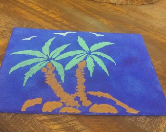 Palm trees - acrylic painting on 5x7 canvas panel