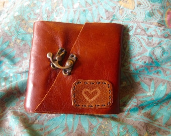 Half- Sized Handmade Leather Travel Journal Red Brown with Heart Patch & Clasp
