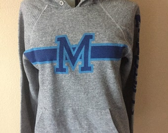 Vintage Mitchell University hooded sweatshirt 80's heather grey hoodie pullover Small Medium