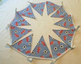 Handmade 3m Football bunting. Blue or red -Cotton /Lined