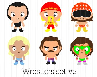 Wrestling Clipart - Andre The Giant, Hulk Hogan, Macho Man, Ric Flair, Rick Rude, Ultimate Warrior, WWE, instant download PNG, cute