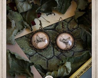 TRICERATOPS bronze cabochons earrings round 20mm dinosaur dino jurassic park BOCB011