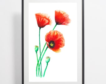 Watercolor Poppies Painting Print - poppies art, flower watercolor, flower illustration, poppies illustration, poppies poster, art print