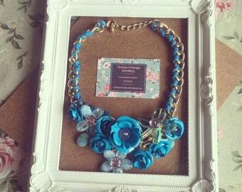 Beautiful bold blue statement necklace