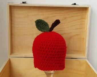 apple hat-baby hat-newborn apple hat-crochet baby hat-baby apple hat-ready to ship-fall hat