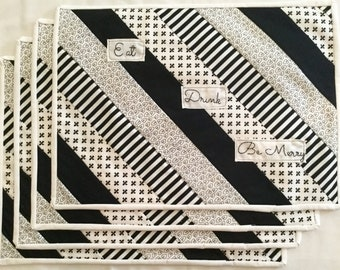 Black and White Quilted Placemats