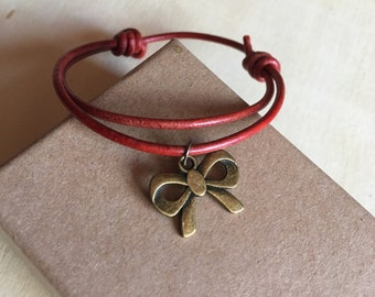 Bronze bracelet cord red leather