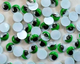 100 GREEN EYELASH Googly Wobbly Craft Eyes For Toys, Arts, Crafts