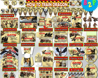 How To TRAIN YOUR DRAGON Birthday Decorations Editable Package Printable, Hat, Bottle Labels, Invitation, Vintage ... - Instant Download
