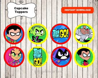 Teen Titans Go party toppers labels instant download , Teen Titans Go cupcakes toppers labels, Printable Teen Titans Go toppers