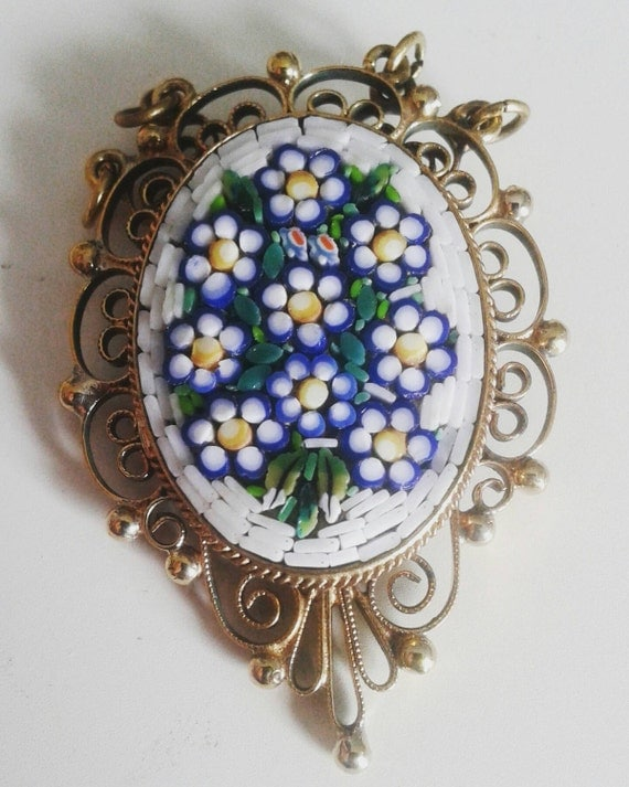 Vintage Italian Glass Mosaic Pendant with Floral Motif and Filagri Border