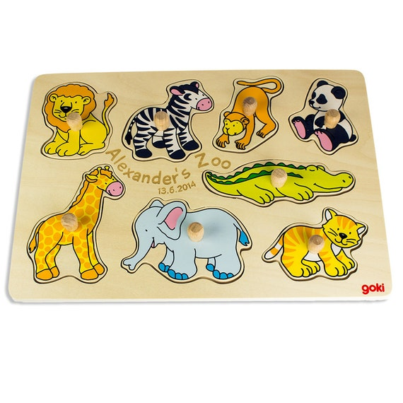 Wooden Puzzle for Kids – Zoo Animals – Personalised with Name and Date