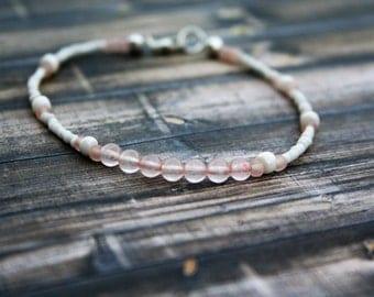 LOVE, Rose Quartz Beaded Bracelet, Wish Bracelet, Positivity Bracelet,Sterling Silver Bracelet,Beaded Stacking Bracelet,Rose Quartz Bracelet