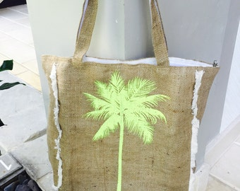 Palm Tree Boho Beach Bag