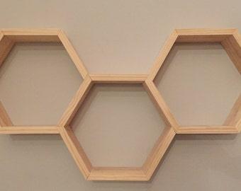 Wooden Triple Hexagon Shelf | Floating Shelf