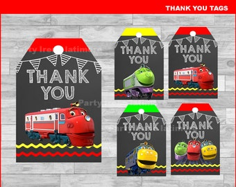 Chuggington Thank you Tags Instant download, Chuggington Chalkboard tags, Chuggington party Thank you Tags