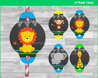 Baby Jungle Animals Straw Tags Instant download,  Baby Jungle Animals Chalkboard toppers, jungle Straw Tags