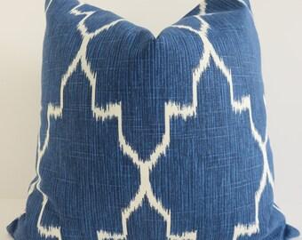 Ikat Light Blue Pillow Cover- BLue White Pillow Cover- Morrocan Trellis Pillow - Geometric Blue Pillow