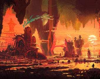 Sunset Valley - Poster Wall Decor - Fantasy Posters - Concept Art