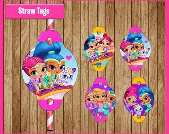 Shimmer and Shine straw tags instant download, Printable Shimmer and Shine party straw tags, Shimmer and Shine straw toppers