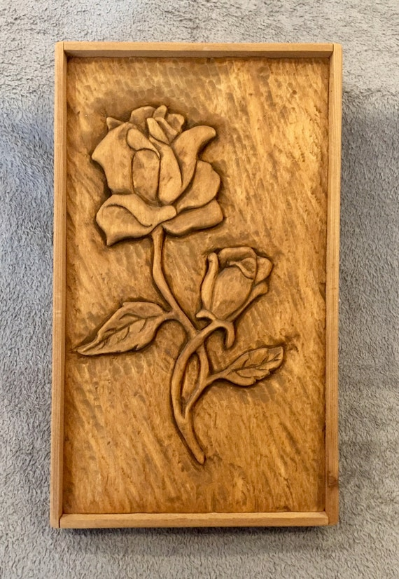 Items similar to rose wood carving relief