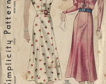 1930s Vintage Sewing Pattern B34 DRESS (1439)