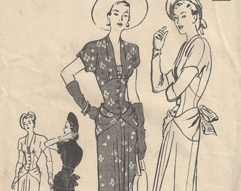 1940s WW2 Vintage Sewing Pattern B34 DRESS with DRAPE & BOW (1705) Butterick 4502