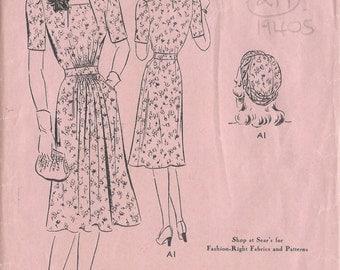 "1940s Vintage Sewing Pattern B30"" DRESS & HAT/TURBAN (219)Superior Patterns 9736"