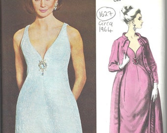 1964 Vintage VOGUE Sewing Pattern B34 EVENING DRESS & Coat (1627)  By Christian Dior Vogue 1398