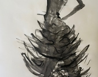 Giclée Print, Black and White Abstract Ink Gesture Figure Painting 1