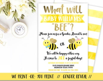 Bee Gender Reveal Invitation, What Will Baby Bee Invitation, Bee Gender Reveal Party, Bee theme Gender Reveal Invitation, Bumble Bee Invite
