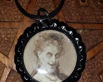 Scary Old Lady Bottlecap  keychain