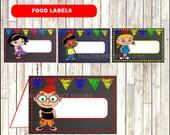 Little Einstein Chalkboard Food labels, printable Little Einstein food tent cards, Chalkboard Little Einsteins Food tent - Instant download