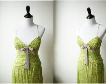 Handmade Vintage Pinup Silk Dress/ Spring Novelty Apple Print/ Purple Bow/ low cut