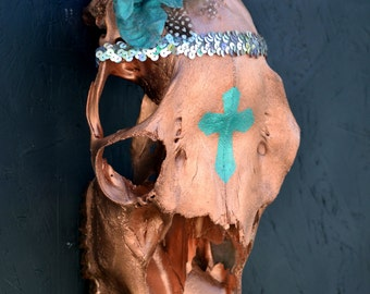 Copper/Teal Cross Painted Cow Skull