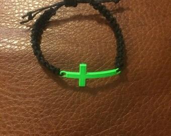 Green Cross Charmed Black Childs Bracelet