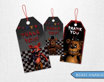 Five Nights at Freddy's thank you tags, Five Nights at Freddy's thank you, FNAF thank you tags, favor tags, party favor!