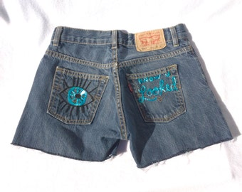 "The ""Know U Looked"" Hand Embroidered Denim Shorts"
