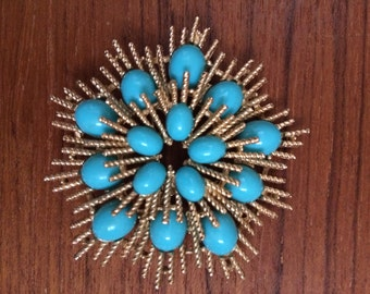 Vintage SUNBURST AVON Gold Tone Starburst Brooch Pin Turquoise Sunburst Pin 1980's ATOMIC