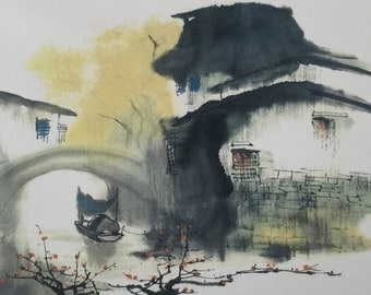 Water Town Series #3, Chinese Ink Painting, Print