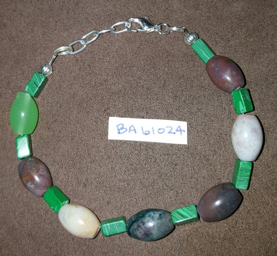 Malachite Green Bracelet / Japer Bracelet / Natural Stone Bracelet / Boho Jewelry / Hippie Bracelet / BA61024