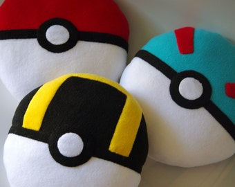 Handmade Pokeball / Pokemon inspirated Stuffed Plush Toy or Pillow