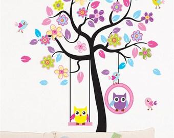 Owl in Tree Kids Animal Nursery Wall Sticker Large
