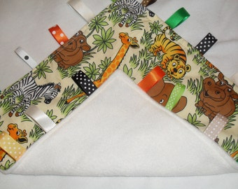 Cosytaggy personalised boys taggy zoo animals,safari ~ happy wild animals design taggy blanket~comforter,taggie sensory with fleece reverse