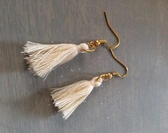 Gold Ivory Tassel Earrings