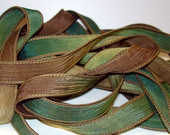 """1PC. CHAMELEON 42"""" hand dyed wrist wrap bracelet silk ribbon//Yoga wrist wrap bracelet ribbons//Hand dyed Boho Silk wrist wrap ribbon"""