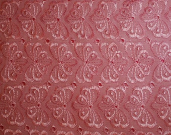 "Pink Embroidered Eyelet Fabric w/Scallop Edge (43"" wide)"