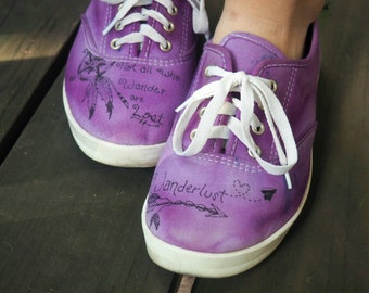 Wanderlust Tie-Dye Canvas Shoes //Hand Dyed, Hand Drawn Shoes // Freehand Designs //